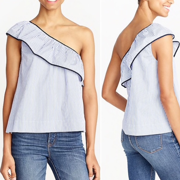 f18c04d10ca61 NWT J Crew blue and white stripe one shoulder top
